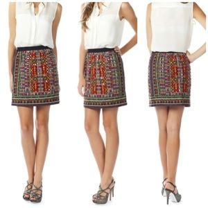 Anthro Tolani Michelle Mirrored Embroidered Skirt